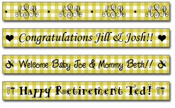 Personalized Chartreuse Gingham Tape
